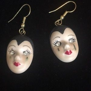 Jewelry - Mime face earrings with rhinestone eyes